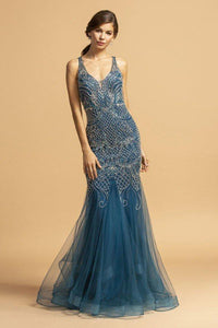 Cherish Illusion Back Mermaid Evening Gown