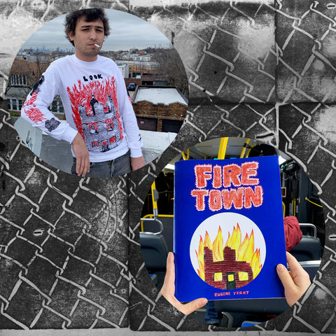 FIRE TOWN zine and long sleeve shirt by Eugene Terry