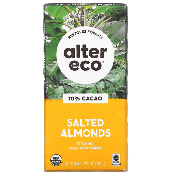 Alter Eco Salted Almonds Chocolate Bar 80g 80g
