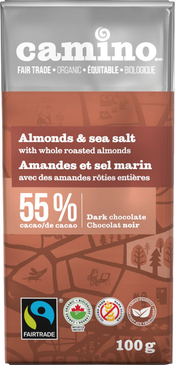 Almond Sea Salt Dark Chocolate Organic 100g