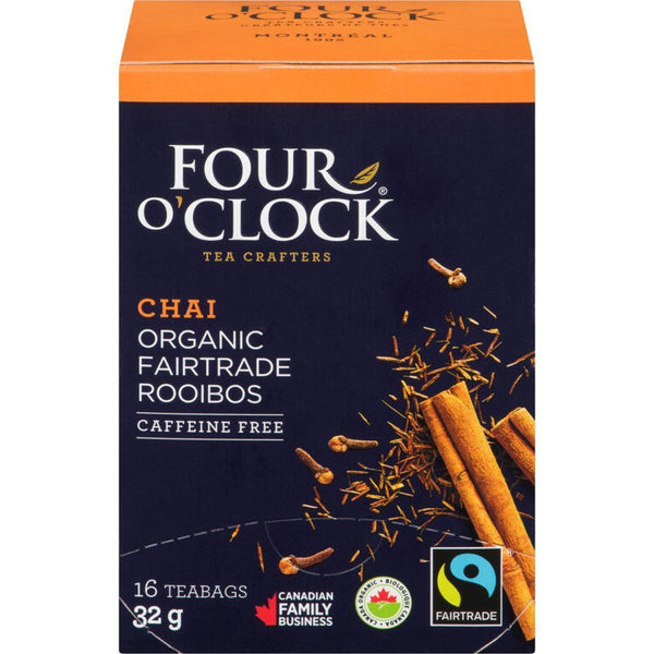 Four O'Clock Tea Rooibos Chai Tea Organic 16 Bag 16 Bag