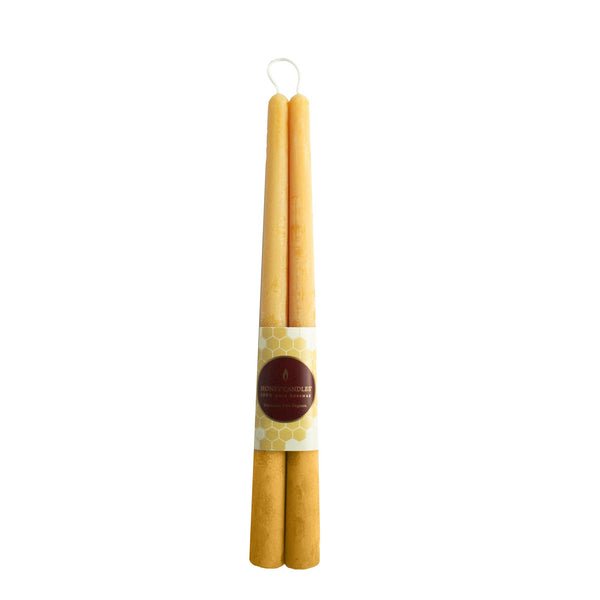 "Honey Candles 12"" Taper Pair Natural Beeswax Candles Pair"