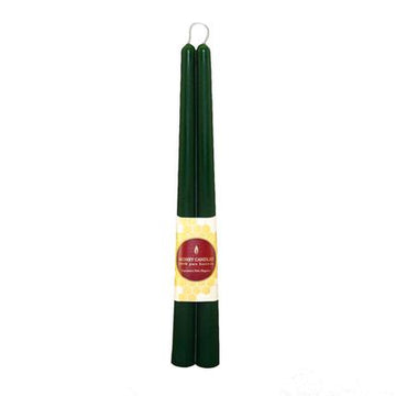 "12"" Taper Pair Forest Green Beeswax Candles Pair"