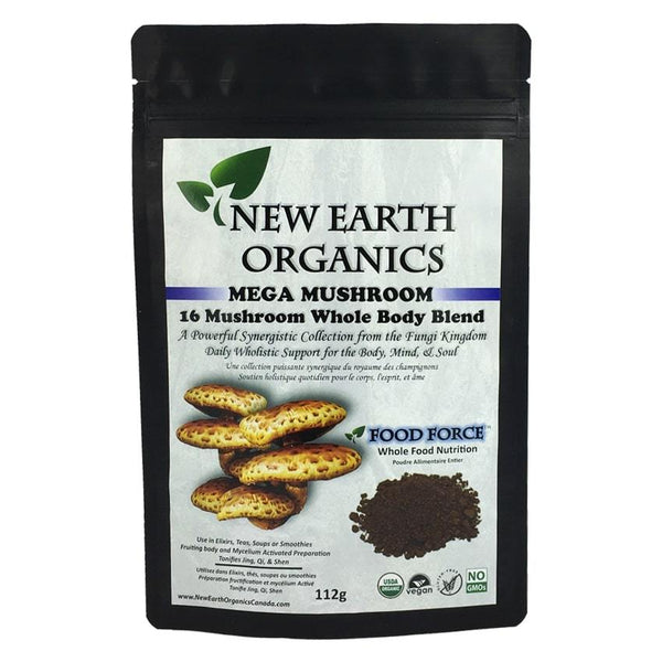 New Earth Organics 16 Mushroom Blend Powder Activated 112g