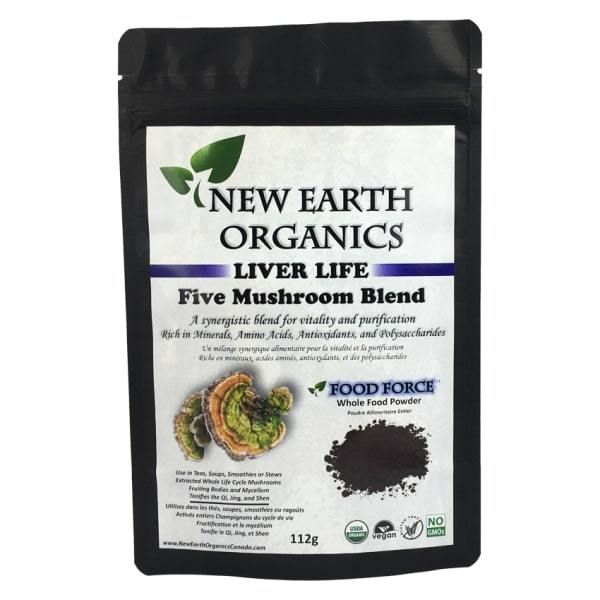 New Earth Organics 5 Mushroom Blend Powder Activated 112g