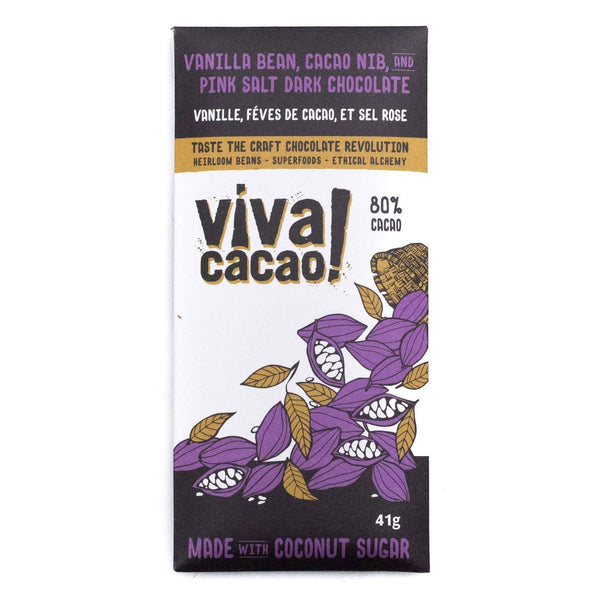 Viva Cacao Chocolate Bar Salted Vanilla & Cacao Nibs 41g 41g