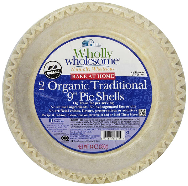 "Wholly Wholesome 9""Traditional Pie Shells 2 Pack Org. 396g 396g"