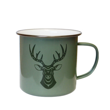 Mug Enamel Green Deer