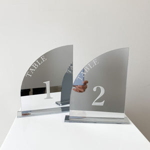 Silver Acrylic Half Arch Table Numbers - Laser Etched