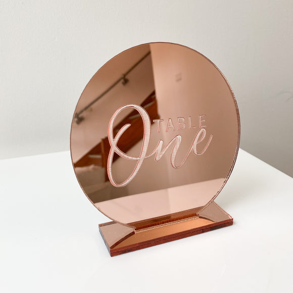 Rose Gold Acrylic Round Table Number - Laser Etched