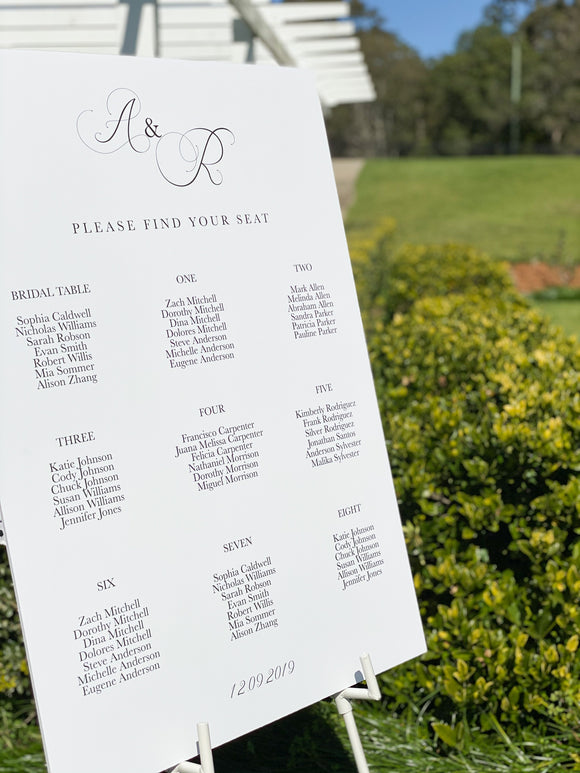 Rachael Foam Board Seating Sign