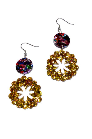 Load image into Gallery viewer, Gold Sparkle Primrose Dangles - Keshet Unique Colourful Women's Clothing Tasmania Australia
