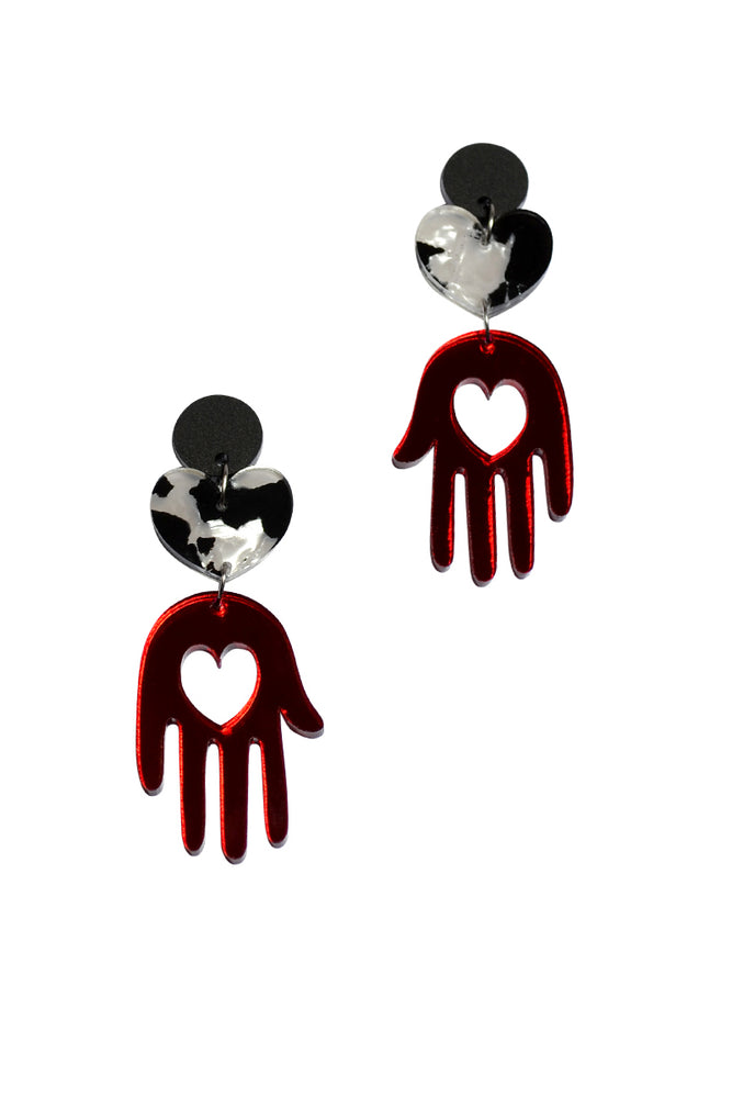 Cherry Mirror Palm Panda Dangles