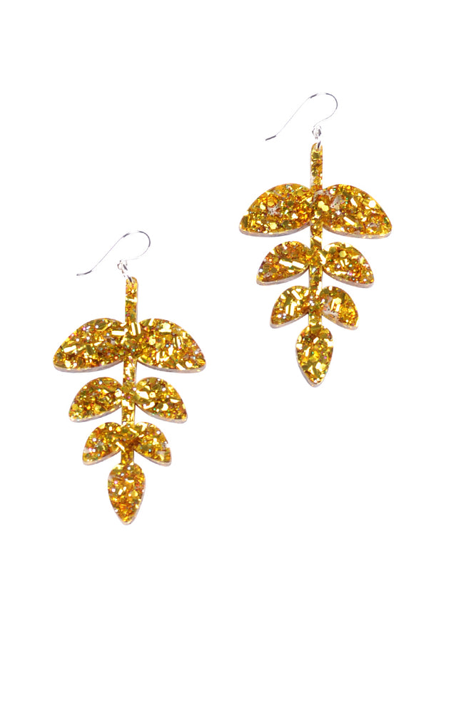 Gold Sparkle Fern Dangles - Keshet Unique Colourful Women's Clothing Tasmania Australia