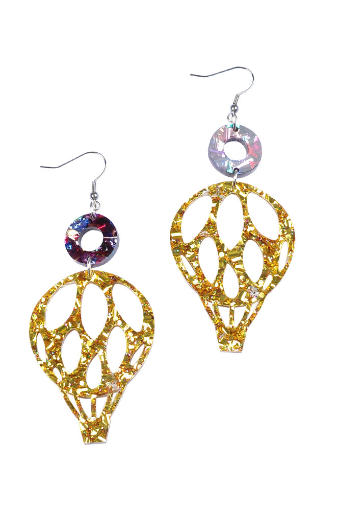 Gold Sparkle Hot-Air Balloon Dangles