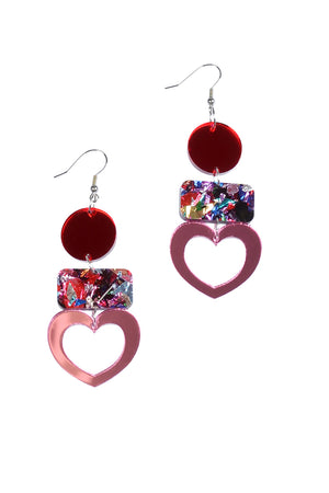 Rosey Mirror Heart Dangles - Keshet Unique Colourful Women's Clothing Tasmania Australia