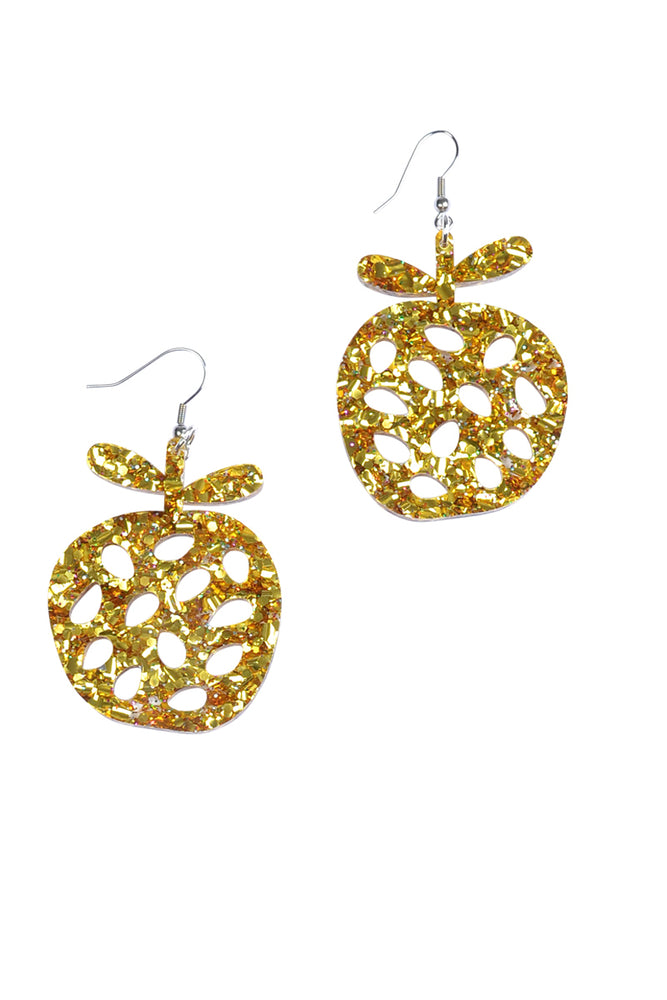 Gold Sparkle Apple Dangles - Keshet Unique Colourful Women's Clothing Tasmania Australia