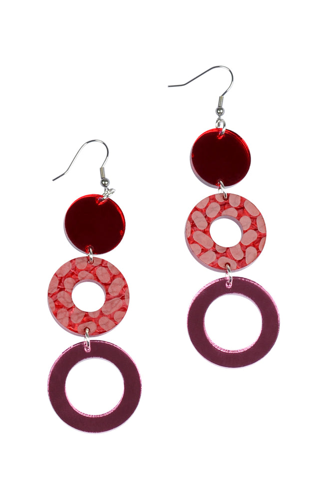 Cherry Marble Ocelot Disco Dangles