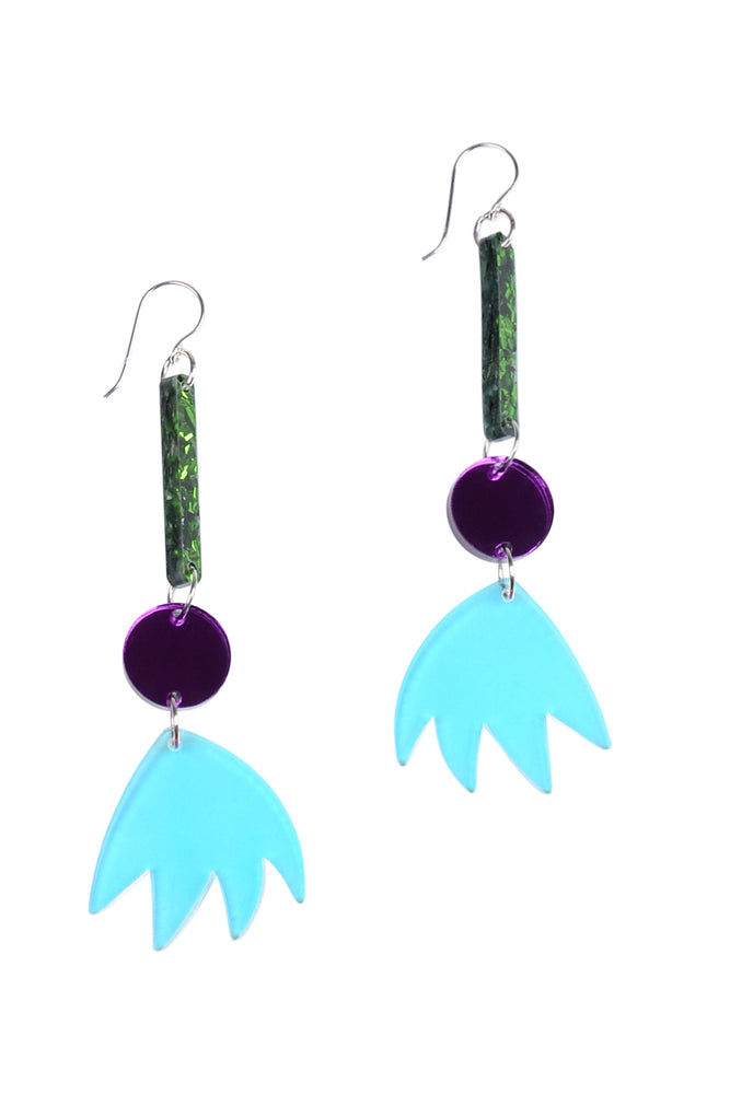 Iridescent Tulip Forest Sparkle Drop Dangles - Keshet Unique Colourful Women's Clothing Tasmania Australia