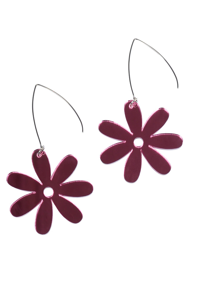 Rosey Mirror Daisy Dangles