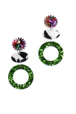 Load image into Gallery viewer, Forest Sparkle Disco Panda Pop Dangles - Keshet Unique Colourful Women's Clothing Tasmania Australia