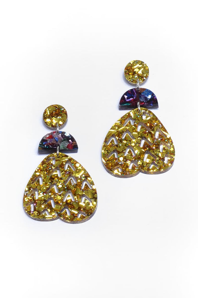 Gold Sparkle Fruity Dangles