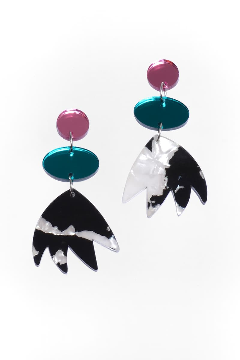 Panda Tulip Mirror Pop Dangles - Keshet Unique Colourful Women's Clothing Tasmania Australia