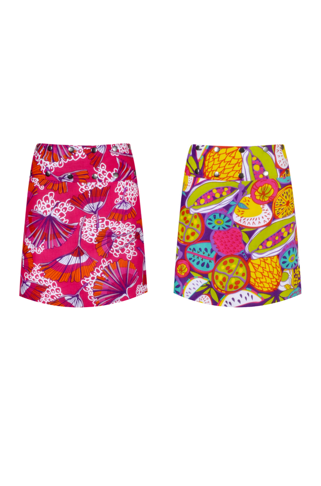 Load image into Gallery viewer, Short Reversible Button Skirt - Keshet Unique Colourful Women's Clothing Tasmania Australia