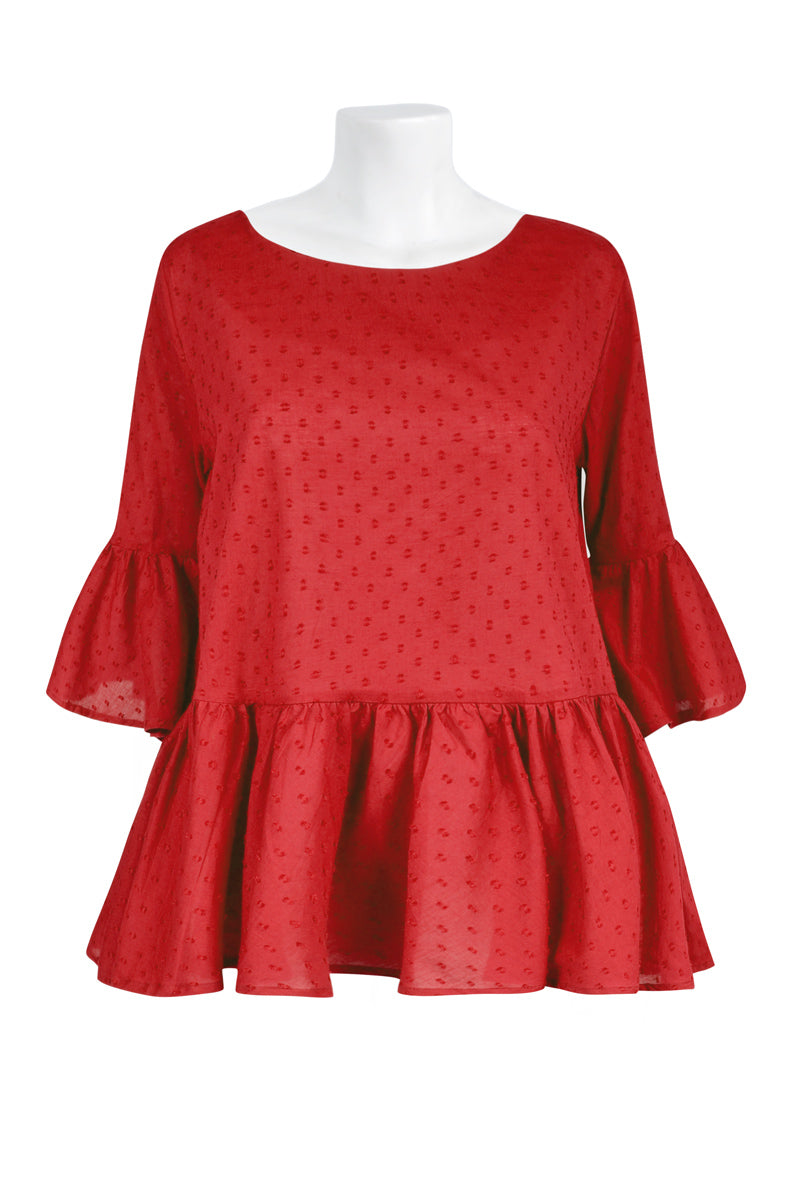 Poppy Ruffle Top Plain - Keshet Unique Colourful Women's Clothing Tasmania Australia