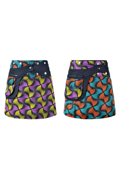 Reversible Mini Pocket Skirt - Clearance - Keshet Unique Colourful Women's Clothing Tasmania Australia