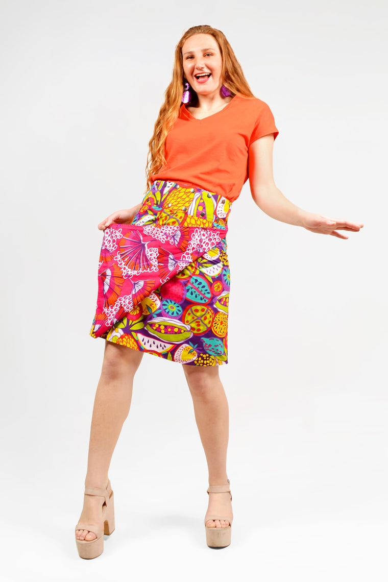 Cotton 3/4 Reversible Button Skirt