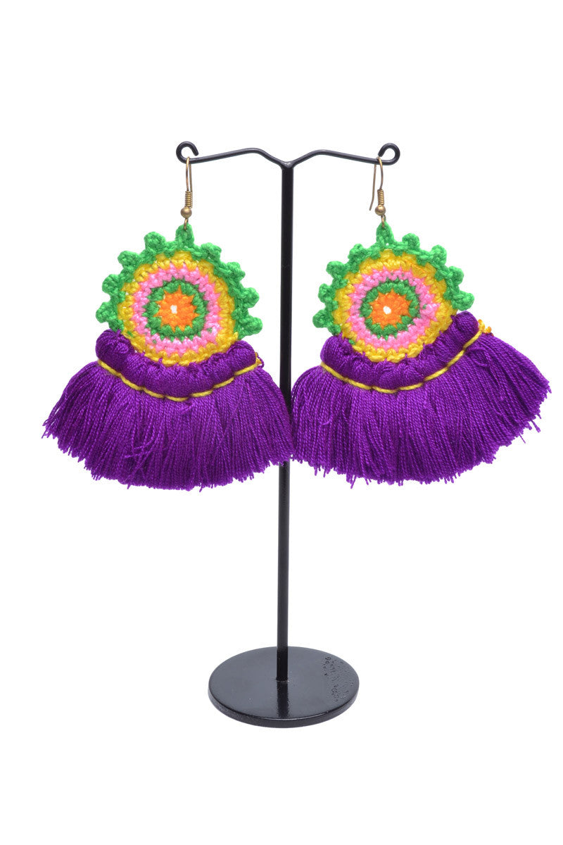 Doily Tassel Fan Earrings