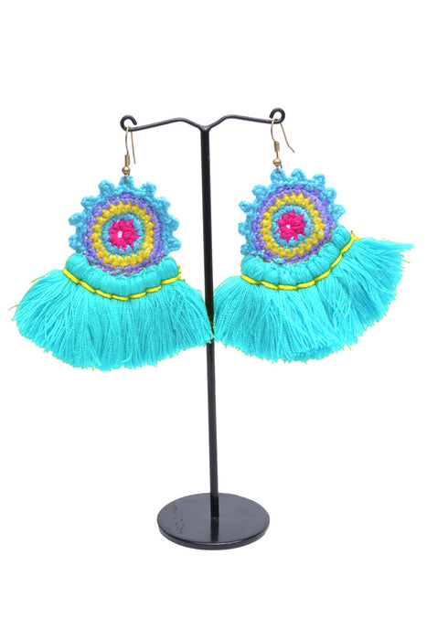 Doily Tassel Fan Earrings - Keshet Unique Colourful Women's Clothing Tasmania Australia
