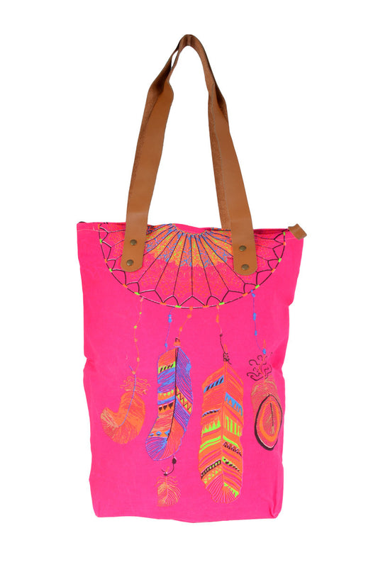 Dreamcatcher Fluoro Tote Bags - Keshet Unique Colourful Women's Clothing Tasmania Australia