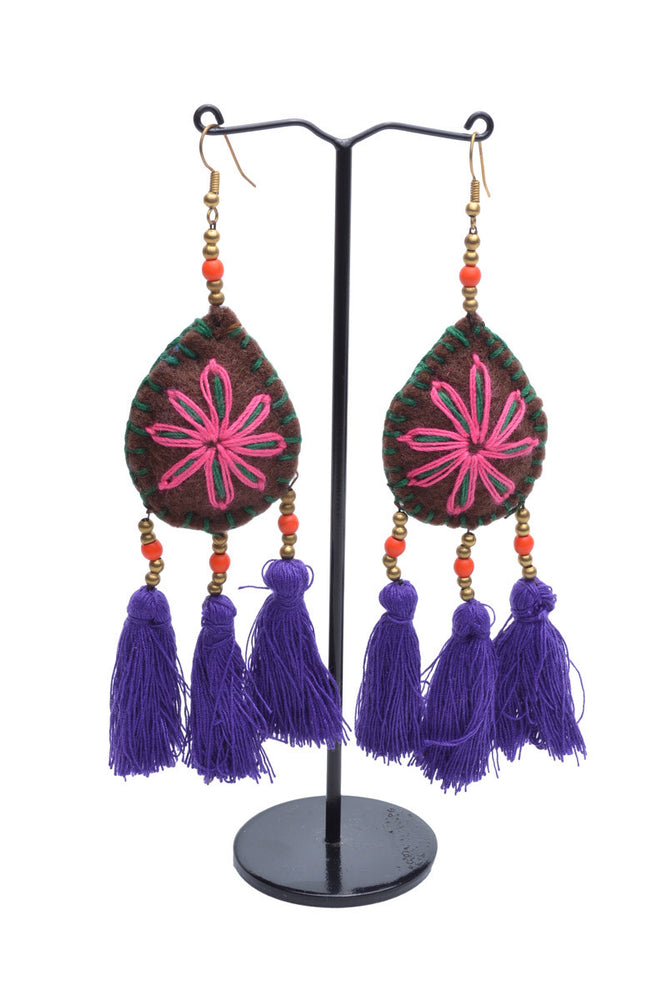 Embellished 3 Tassel Earrings - Keshet Unique Colourful Women's Clothing Tasmania Australia