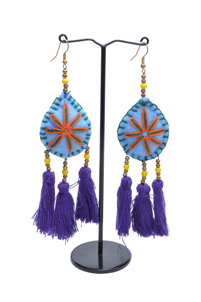 Embellished 3 Tassel Earrings - Keshet Design