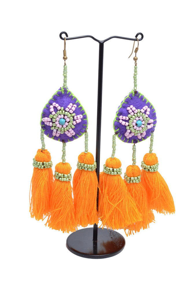 Load image into Gallery viewer, Embellished 3 Tassel Earrings - Keshet Unique Colourful Women's Clothing Tasmania Australia