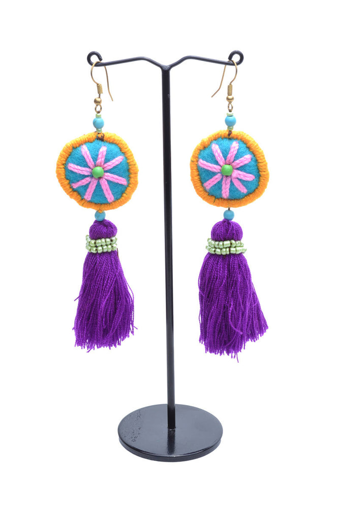 Embellished Tassel Earrings - Keshet Design