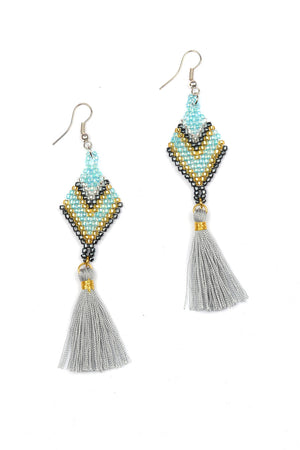 Load image into Gallery viewer, Beaded Diamond Tassel Earrings - Keshet Unique Colourful Women's Clothing Tasmania Australia