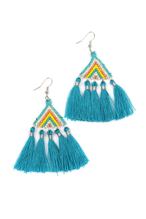 Beaded Triangle Tassel Earrings - Keshet Unique Colourful Women's Clothing Tasmania Australia