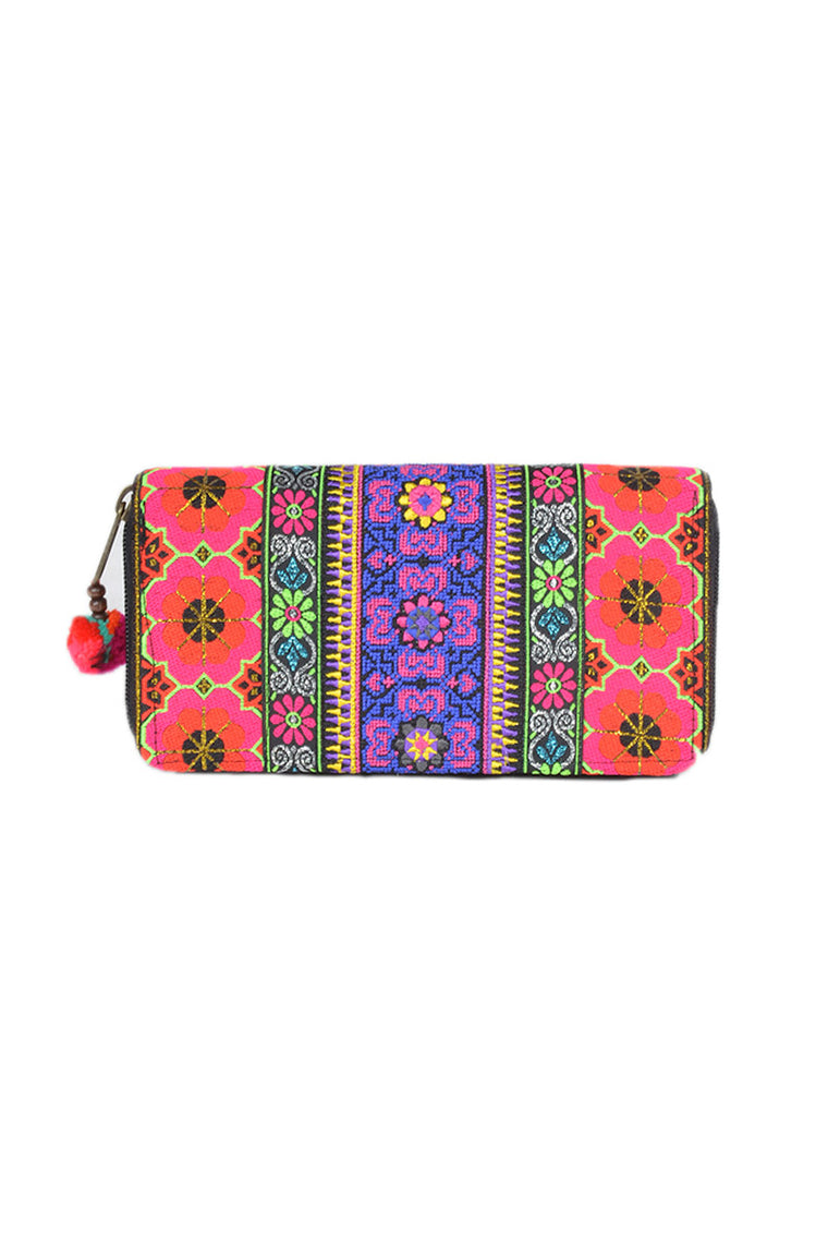 Embroidered Flower Border Wallet