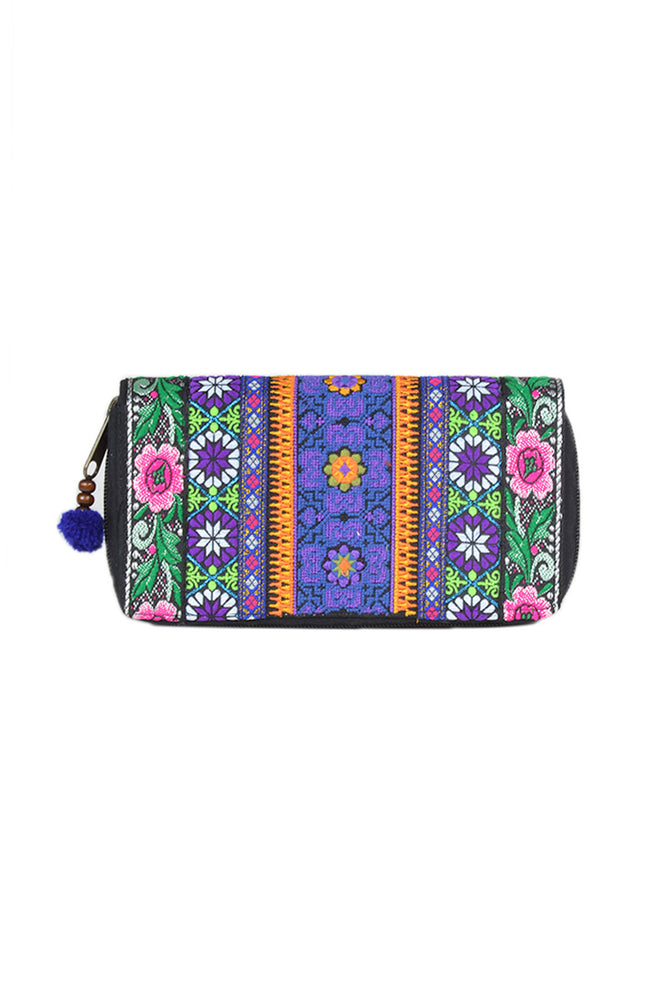 Embroidered Flower Border Wallet - Keshet Unique Colourful Women's Clothing Tasmania Australia