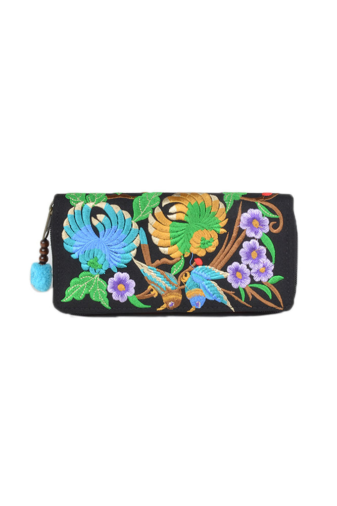 Embroidered Floral Wallet - Keshet Unique Colourful Women's Clothing Tasmania Australia