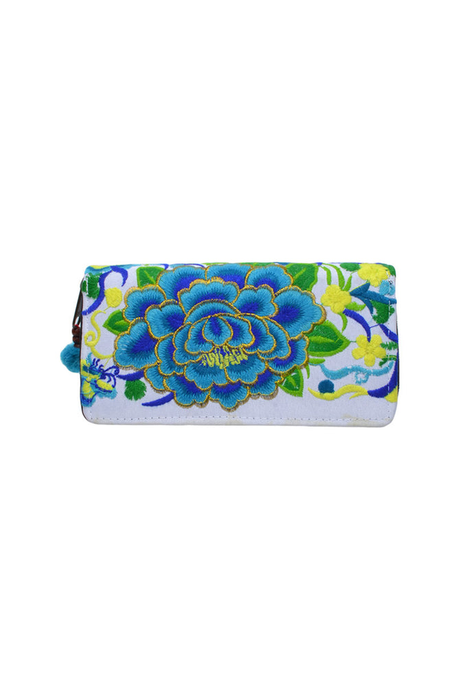Embroidered Rose Wallet - Keshet Unique Colourful Women's Clothing Tasmania Australia