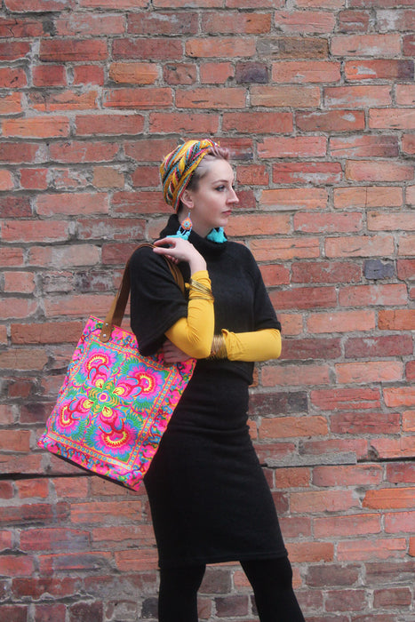 Fluoro Tote with Leather handle