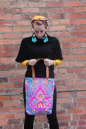 Fluoro Tote with Leather handle - Keshet Design