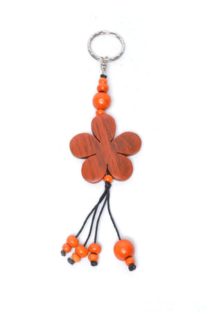 Wooden Flower Keyring - Keshet Unique Colourful Women's Clothing Tasmania Australia