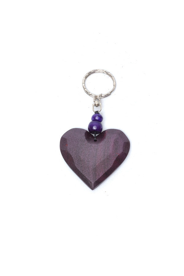 Wooden Heart Keyring - Keshet Unique Colourful Women's Clothing Tasmania Australia