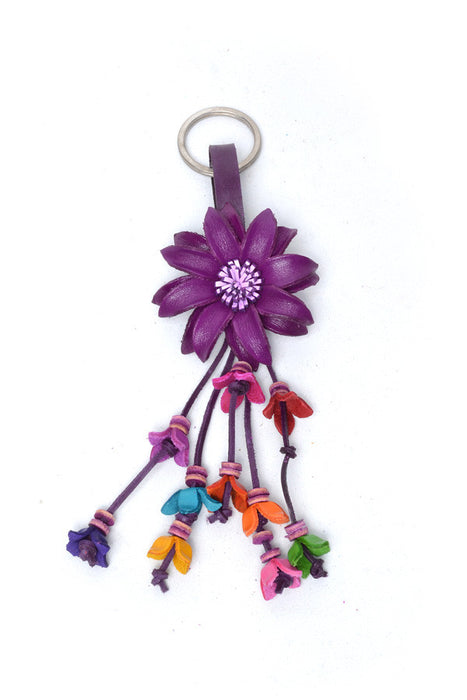 Leather Flower Keyring - Keshet Clothing Tasmania