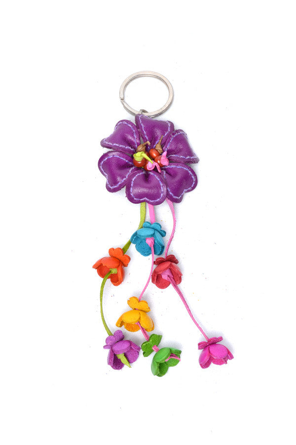 Leather Stitched Flower Keyring